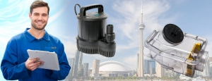 backwater valve and sump pump infront of toronto skyline