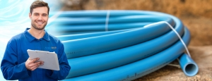 series of blue water pipes together underground banner