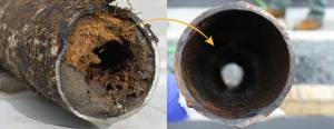 before and after of pipe that has been descaled of residue